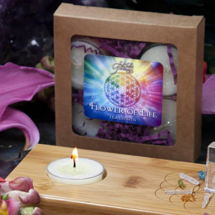 Flower of Life Candle Holder, Tea Lights, and Mini Gem Set