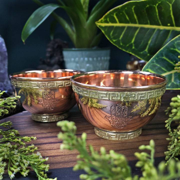 Hamsa Hand Copper Offering Bowl
