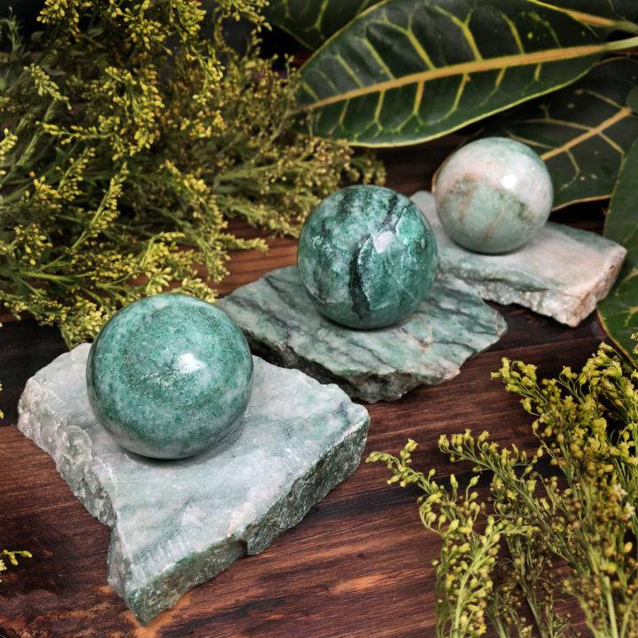 Healing and Abundance Jade Sphere with Stand