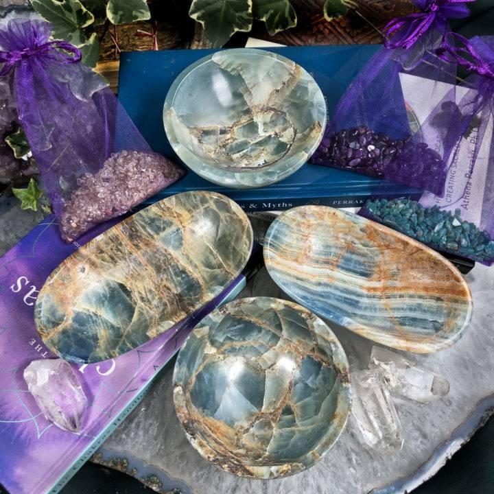 Lemurian Blue Calcite Peaceful Healing Bowl and Gem Set
