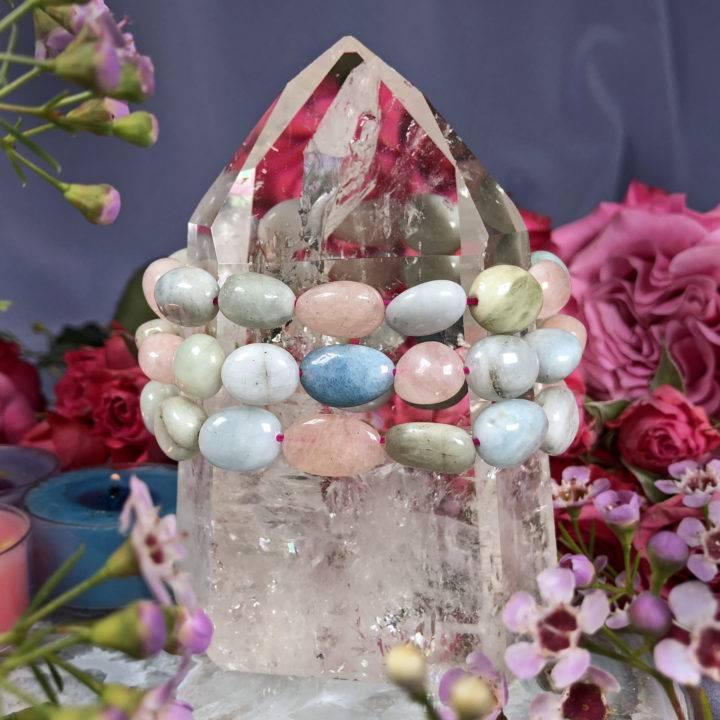 Morganite and Aquamarine Heart Healing Bracelet