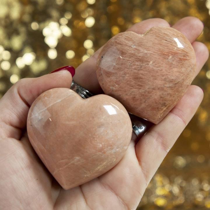 Peach Moonstone Heart
