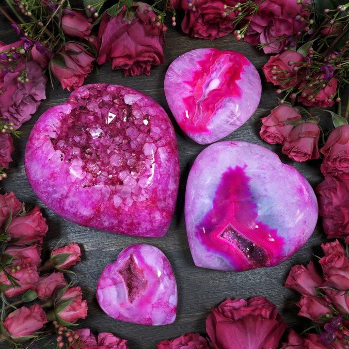 Pink Agate Druzy Heart