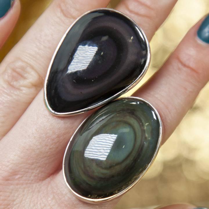 Rainbow Obsidian Sterling Silver Adjustable Ring