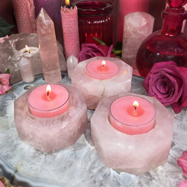 Rose Quartz Octagon Tea Light Holder with Free Amatus Tea Lights