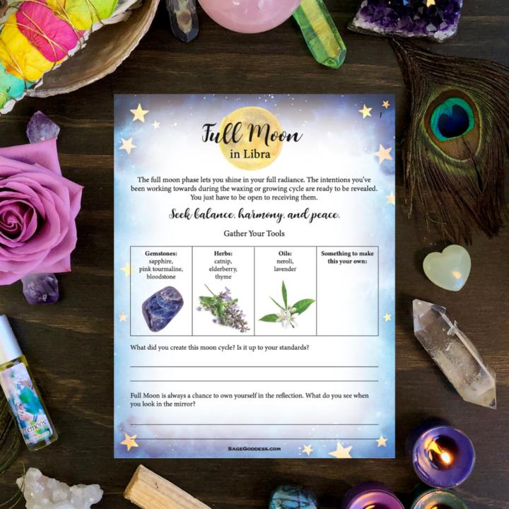 Free SG Downloadable Libra Full Moon Worksheet