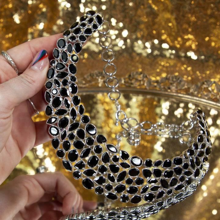 Black Spinel Sterling Silver Choker Necklace