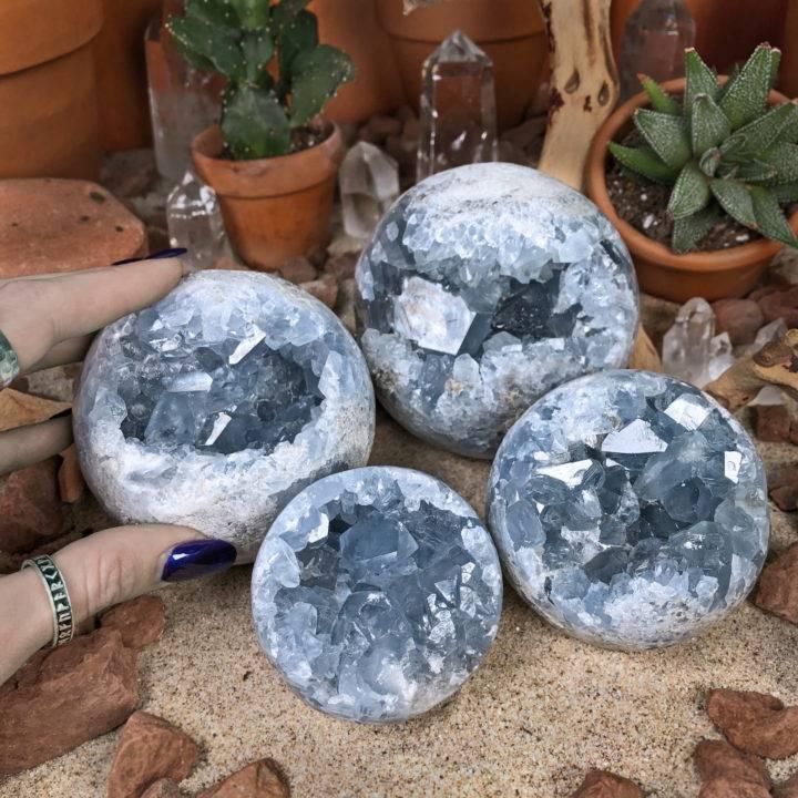 Celestite Geode Sphere