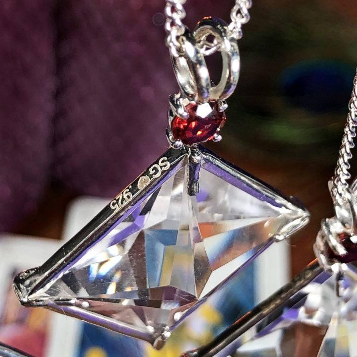 Clear Quartz and Garnet Magician Pendant