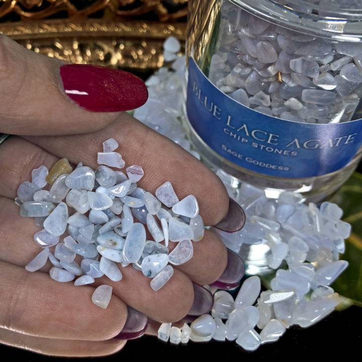 Crystal Sprinkles Tumbled Blue Lace Agate Chip Stones