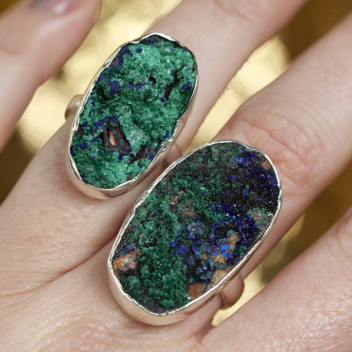 Druzy Azurite and Malachite Sterling Silver Adjustable Ring