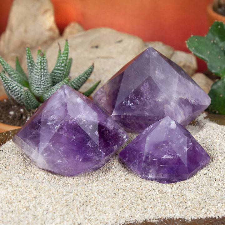 Faceted Hexagonal Amethyst Pyramid