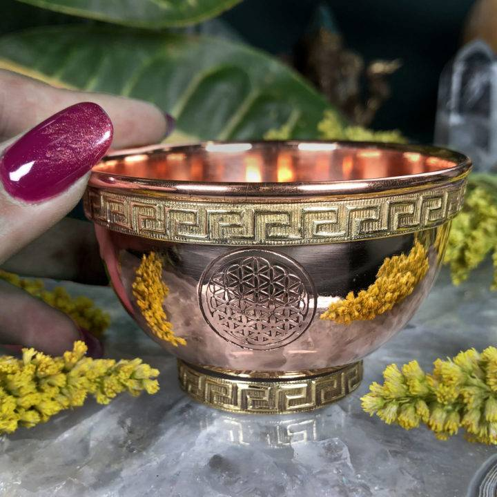 Flower of Life Copper Offering Bowl