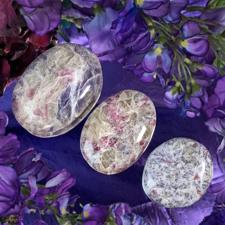 Lepidolite, Pink Tourmaline, Smoky Quartz, and Cleavelandite Palm Stone
