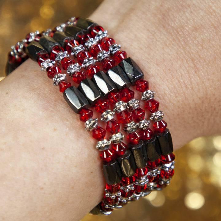 Magnetic Hematite Garnet Wrap Bracelet