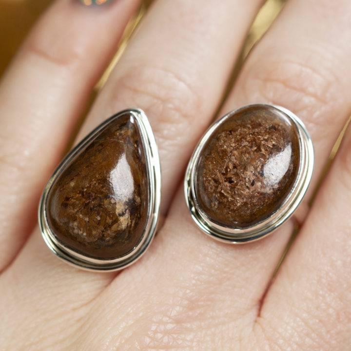 Bronzite Sterling Silver Adjustable Ring