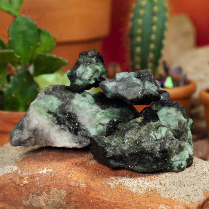 Natural Emerald with Biotite and Schist