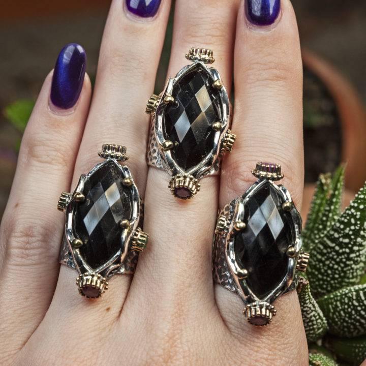 Onyx and Ruby Underworld Ring