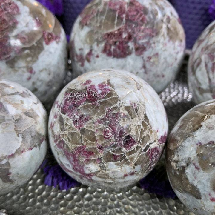 Pink Tourmaline and Smoky Quartz Sphere