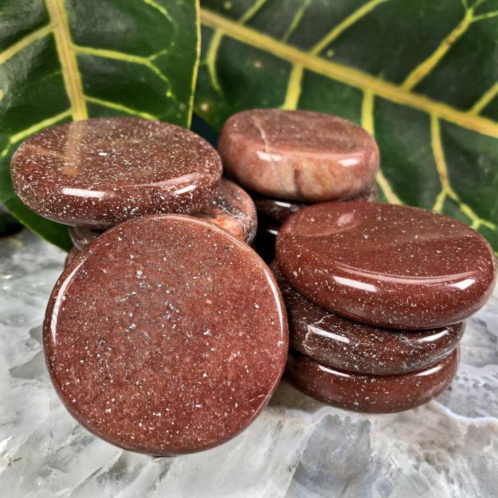 Red Aventurine Strength and Recovery Palm Stone