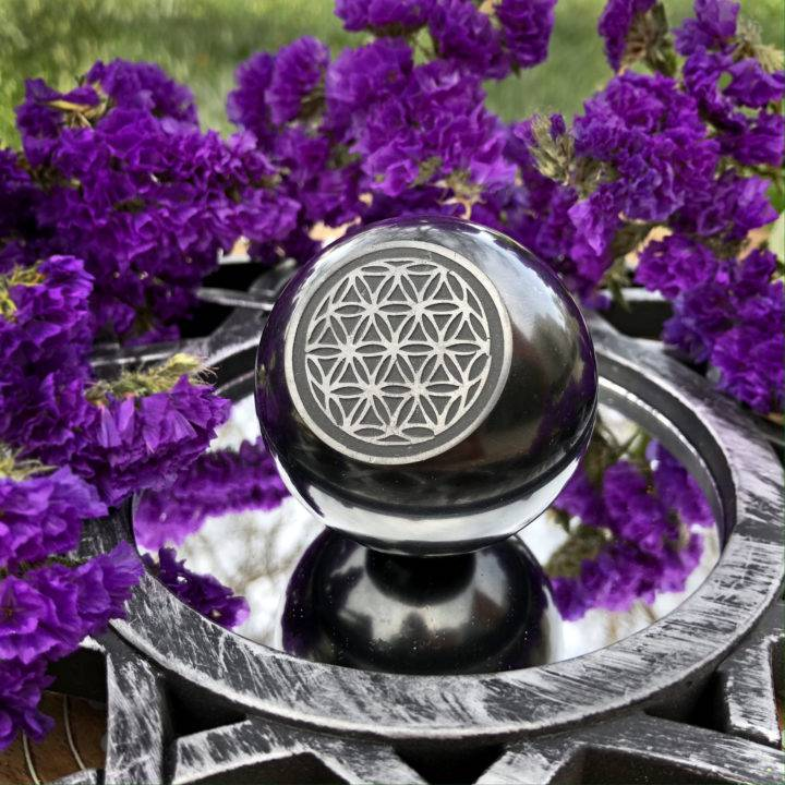 Shungite Flower of Life Engraved Sphere