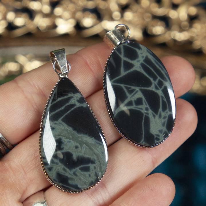 Spiderweb Obsidian Sterling Silver Pendant
