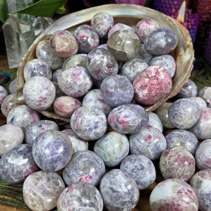Tumbled Lepidolite, Pink Tourmaline, Smoky Quartz, and Cleavelandite