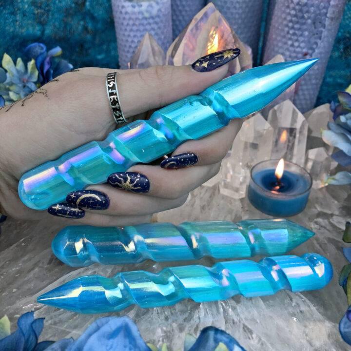 Aqua Aura Selenite Self-Expression Wand