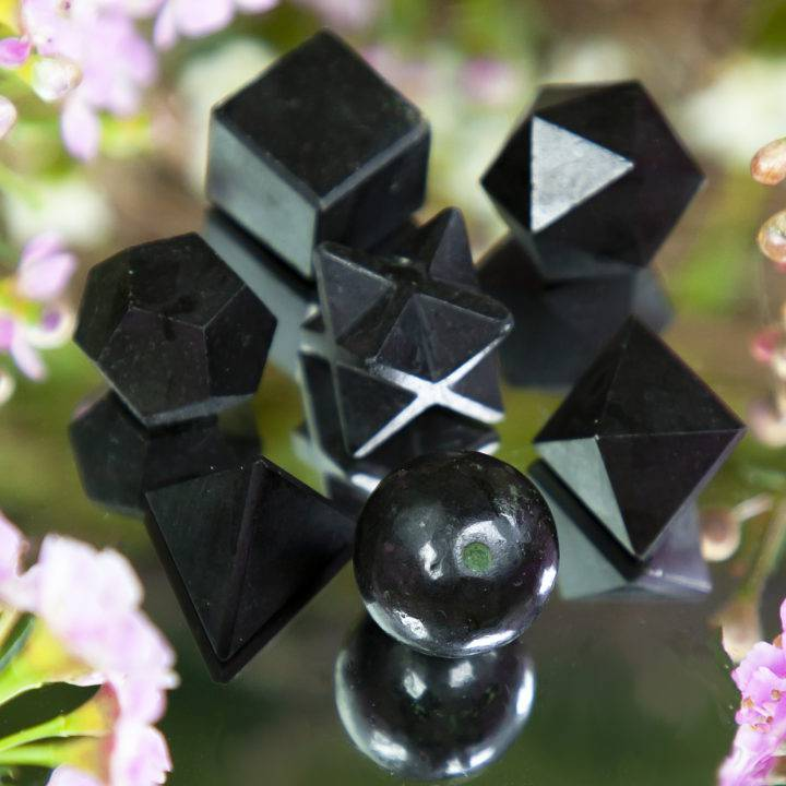 Black Tourmaline Sacred Geometry Set