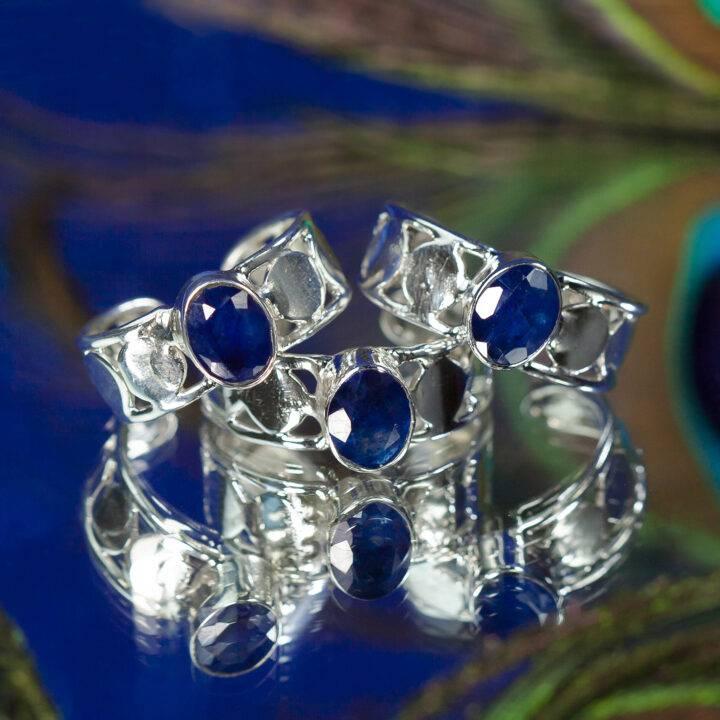 Blue Sapphire Moon Priestess Ring