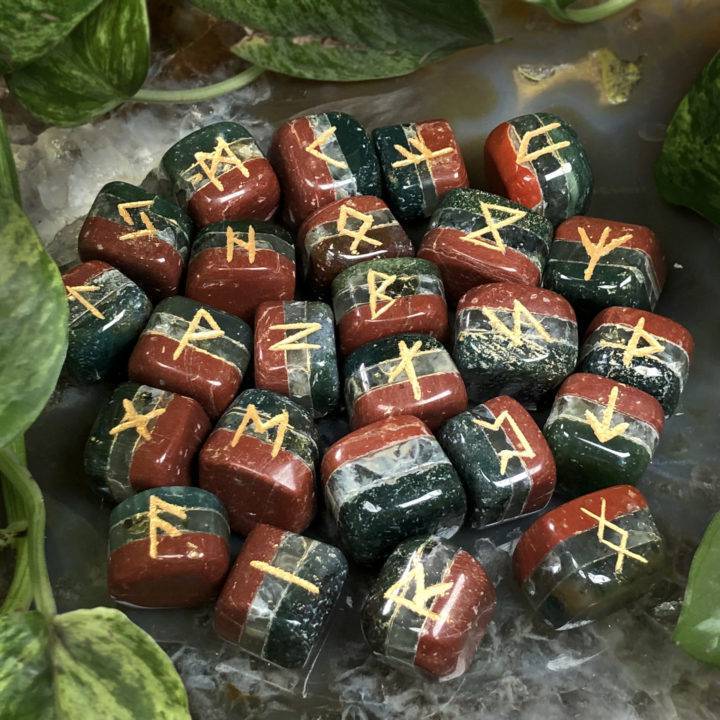 Bloodstone, Prehnite, and Red Jasper Healing Rune Set