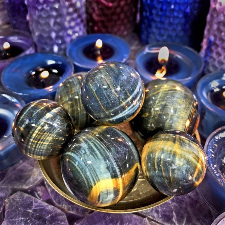 Blue Tigers Eye Wise Priestess Sphere