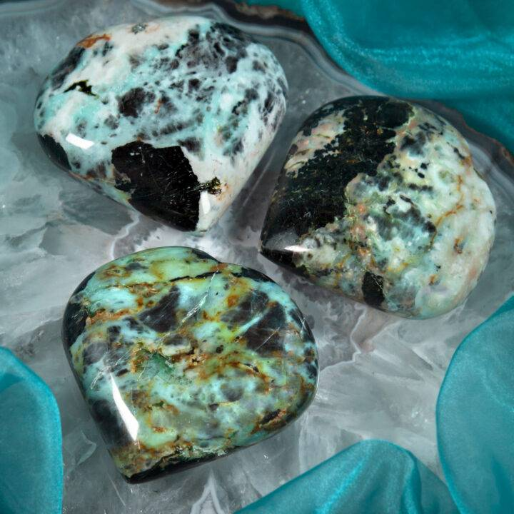 Chrysocolla in Black Tourmaline Heart