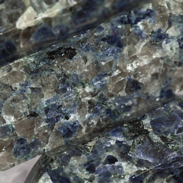 Cordierite in Smoky Quartz and Hematite Double Terminated Wand
