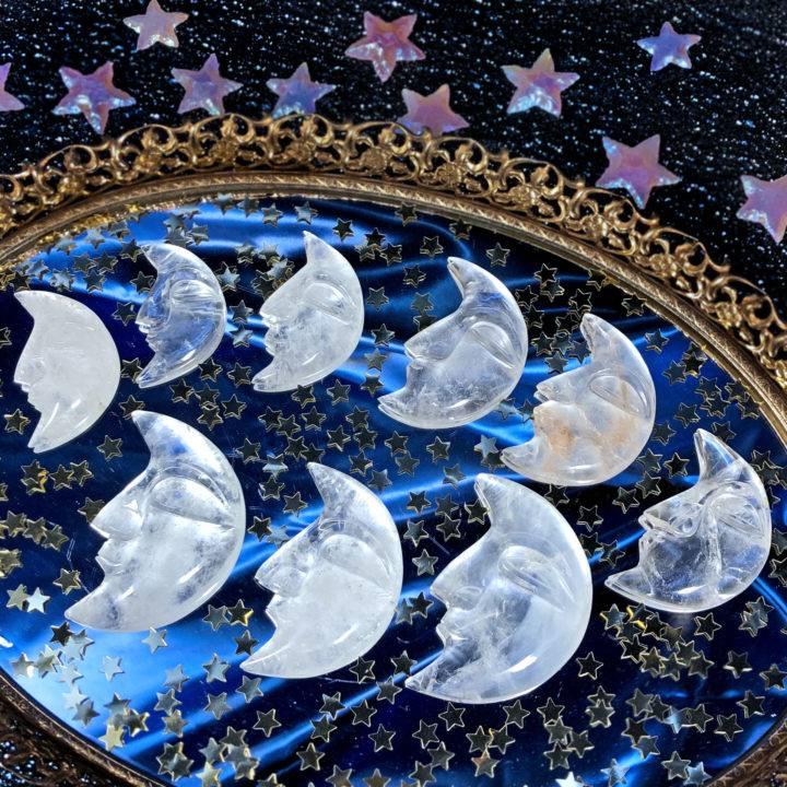 Clear Quartz Crescent Moon
