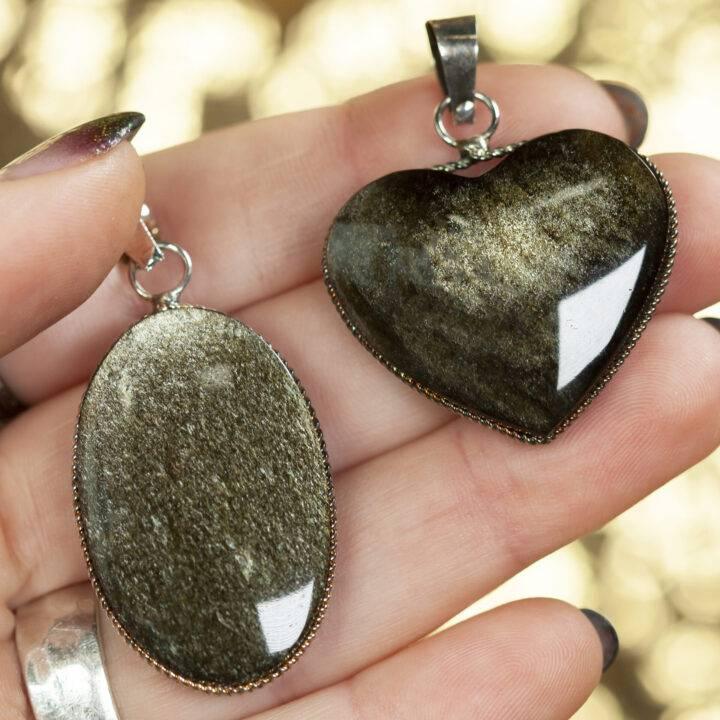 Golden Sheen Obsidian Sterling Silver Pendant