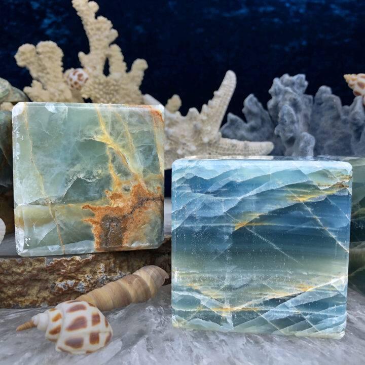 Lemurian Blue Calcite Emotional Healing Cube