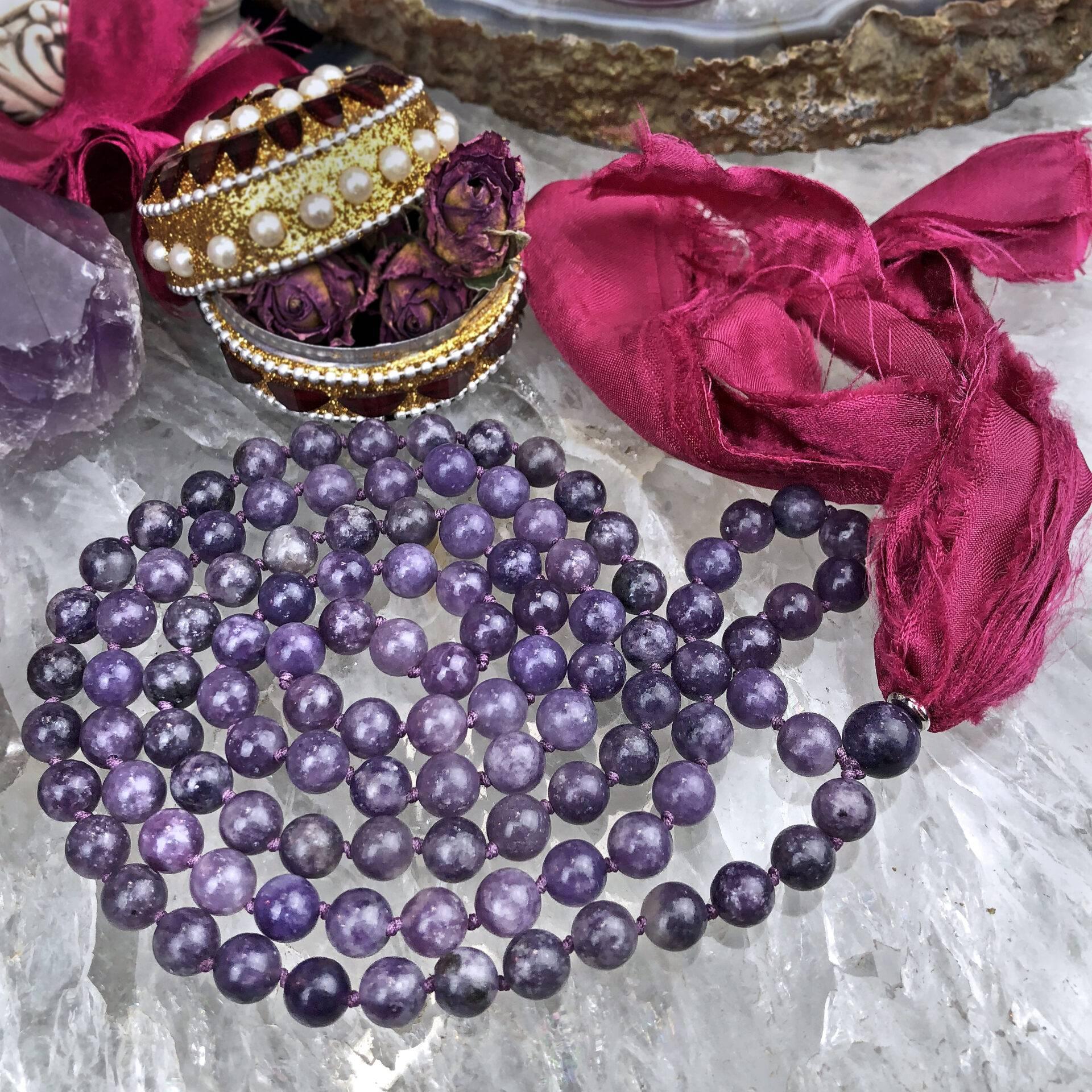 Lepidolite 108 bead meditation mala