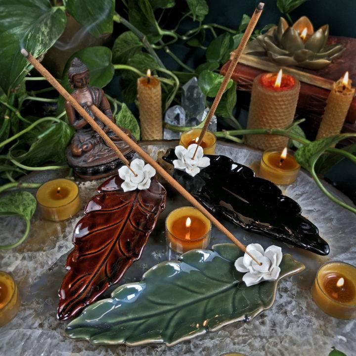 Lotus and Leaf Incense Burner