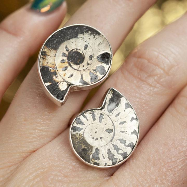 Pyritized Ammonite Sterling Silver Adjustable Ring