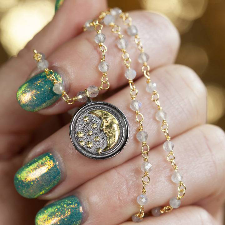 Labradorite Rosary Necklace with Half Moon Pendant
