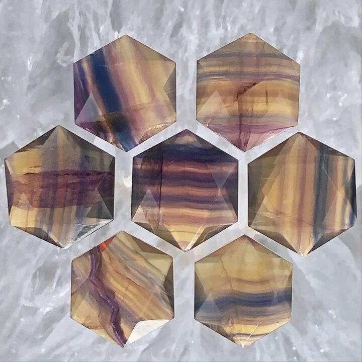 Rainbow Yellow Fluorite Hexagon