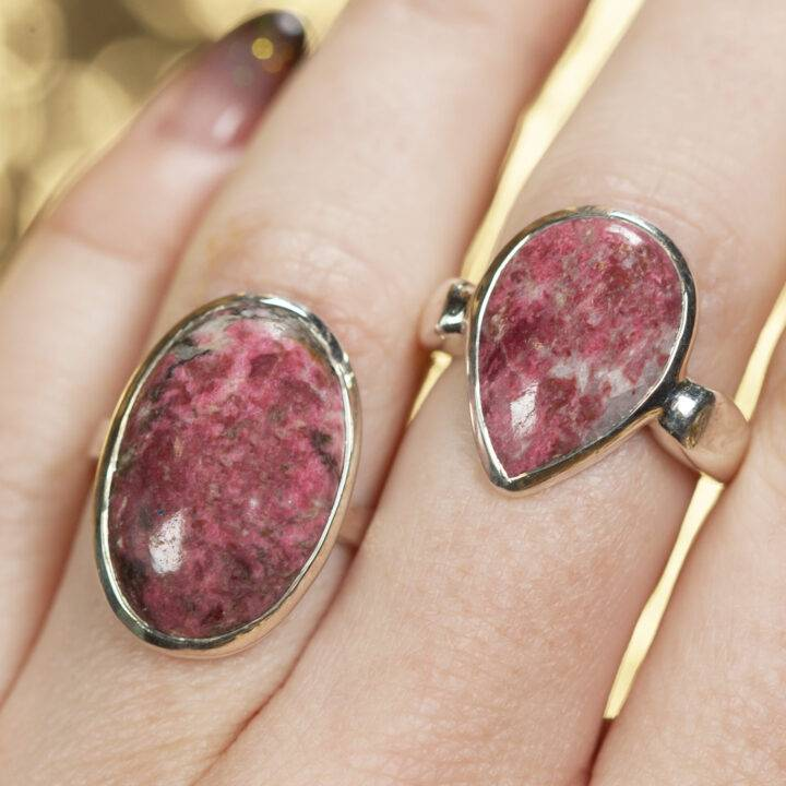 Sterling Silver Thulite Ring Size 8