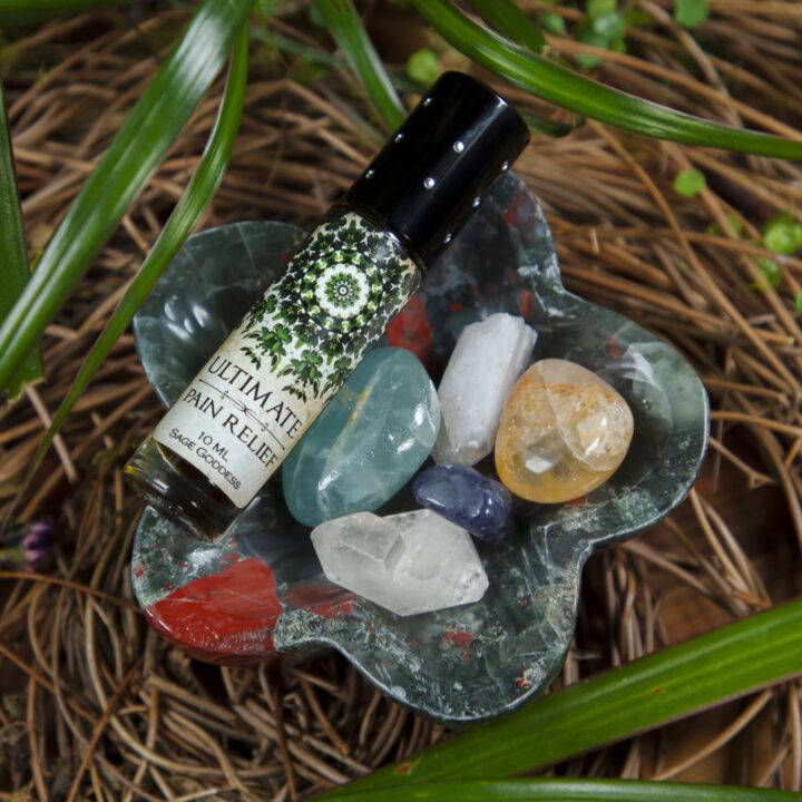 Ultra Healing Bloodstone Flower Bowl with Perfume and Gem Set