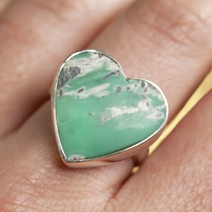 Variscite Sterling Silver Adjustable Heart Ring