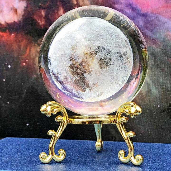 3D Floating Moon Glass Sphere with Stand