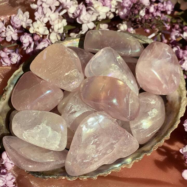 Tumbled Angel Aura Rose Quartz