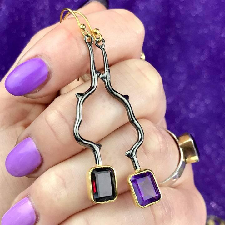 Amethyst and Garnet Earrings