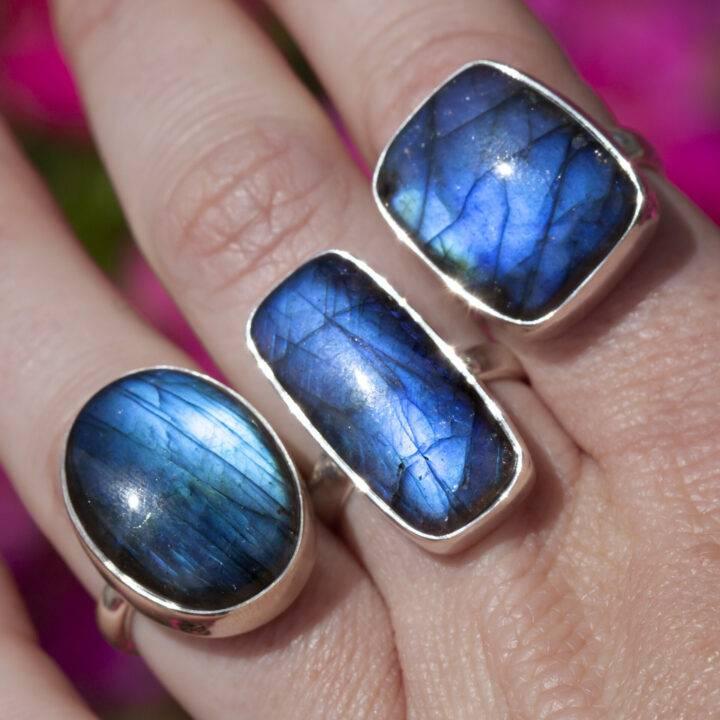 Blue Flash Labradorite New Moon Magic Ring