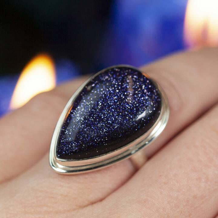 Blue Goldstone Starry Night Ring